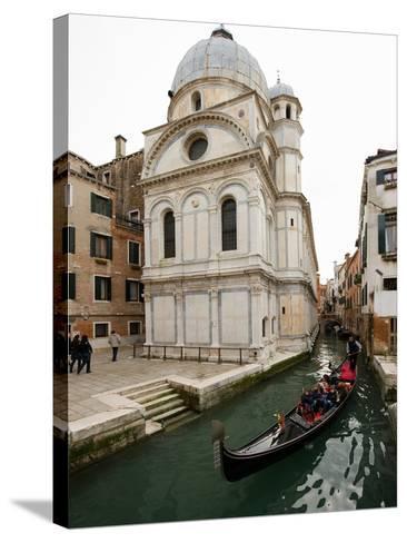 A Gondola Passing the Santa Maria Dei Miracoli Church-James P^ Blair-Stretched Canvas Print