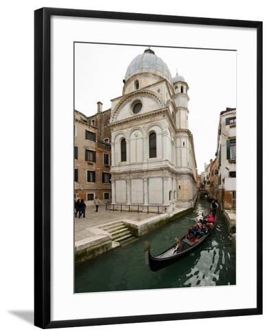 A Gondola Passing the Santa Maria Dei Miracoli Church-James P^ Blair-Framed Art Print