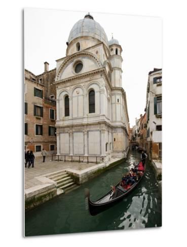 A Gondola Passing the Santa Maria Dei Miracoli Church-James P^ Blair-Metal Print