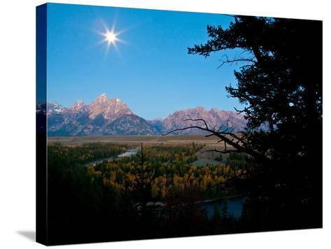The Full Moon Illuminates the Snake River in Grand Teton National Park-Drew Rush-Stretched Canvas Print