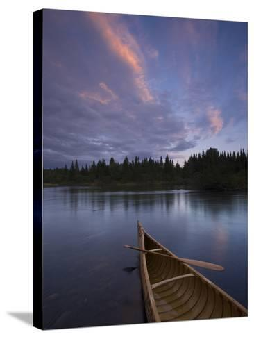 A Canoe on Maine's Allagash River-Michael Melford-Stretched Canvas Print