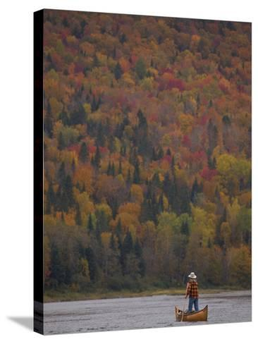 A Canoeist Poling on Maine's Allagash River-Michael Melford-Stretched Canvas Print
