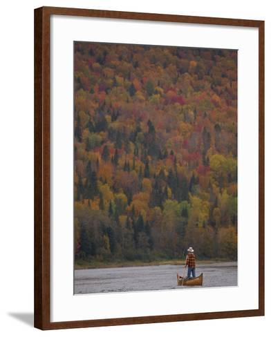 A Canoeist Poling on Maine's Allagash River-Michael Melford-Framed Art Print