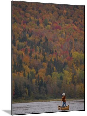A Canoeist Poling on Maine's Allagash River-Michael Melford-Mounted Photographic Print
