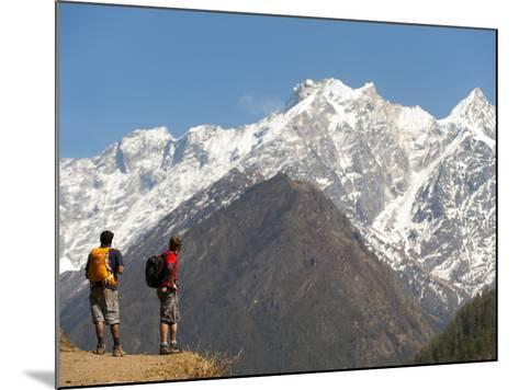 Trekkers in the Tsum Valley Admire Views of the Ganesh Himal Mountains-Alex Treadway-Mounted Photographic Print