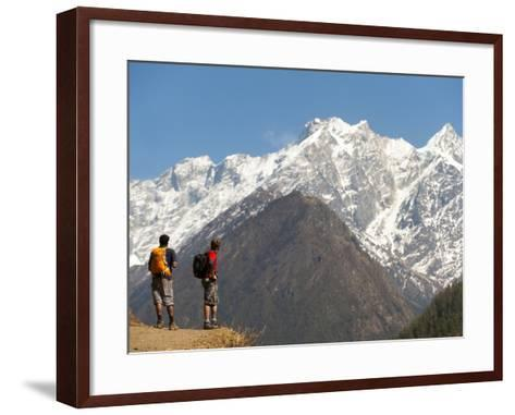 Trekkers in the Tsum Valley Admire Views of the Ganesh Himal Mountains-Alex Treadway-Framed Art Print