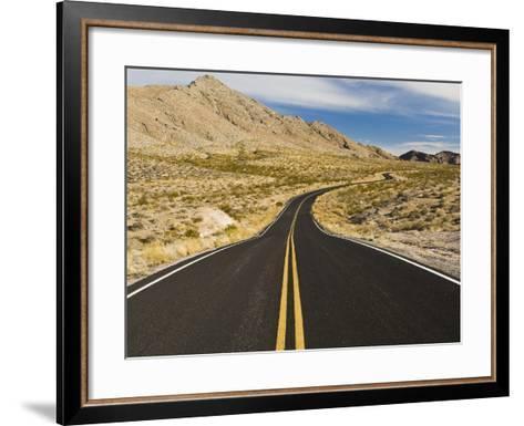 A Road Through and Arid Desert Landscape-James Forte-Framed Art Print