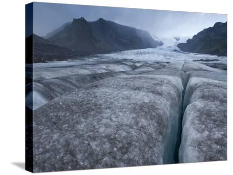 The Kviarjokull, an Exit Glacier Flowing from the Vatnajokull Icecap-Bill Hatcher-Stretched Canvas Print
