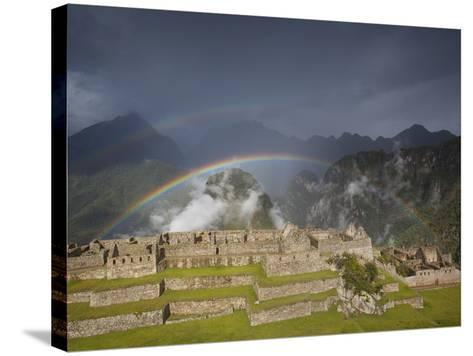 Two Rainbows Form Above the Ruins of Machu Picchu-Michael Melford-Stretched Canvas Print
