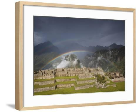 Two Rainbows Form Above the Ruins of Machu Picchu-Michael Melford-Framed Art Print