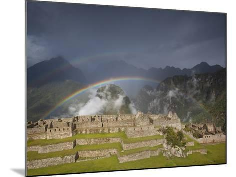 Two Rainbows Form Above the Ruins of Machu Picchu-Michael Melford-Mounted Photographic Print