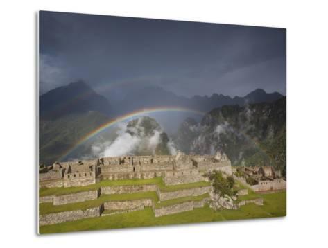 Two Rainbows Form Above the Ruins of Machu Picchu-Michael Melford-Metal Print