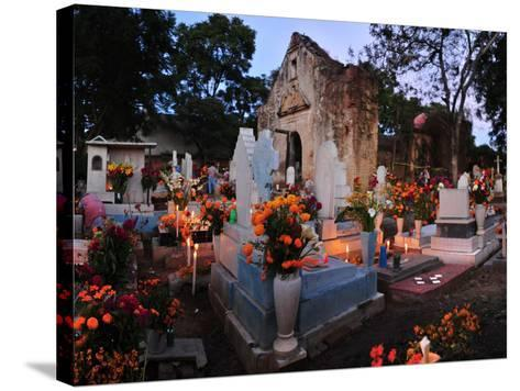 Xoxocotlan Graveyard on the Night of Day of the Dead-Raul Touzon-Stretched Canvas Print