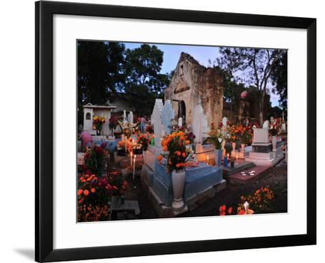 Xoxocotlan Graveyard on the Night of Day of the Dead-Raul Touzon-Framed Art Print