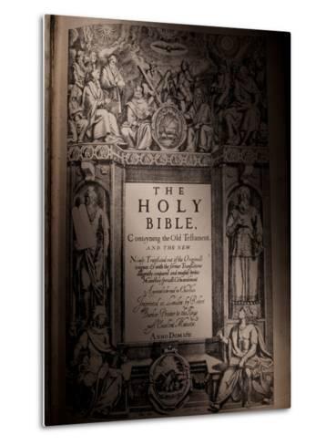 The Title Page of an Original King James Bible Dating from 1611-Jim Richardson-Metal Print