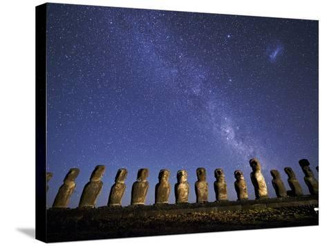 A Beautiful Night Sky Above Moai on Easter Island-Jim Richardson-Stretched Canvas Print