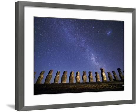 A Beautiful Night Sky Above Moai on Easter Island-Jim Richardson-Framed Art Print