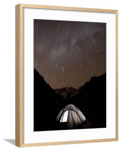 A Long Exposure Reveals the Earth Rotation Above Tents at Jhangothang-Alex Treadway-Framed Art Print