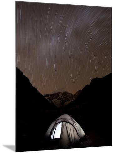 A Long Exposure Reveals the Earth Rotation Above Tents at Jhangothang-Alex Treadway-Mounted Photographic Print