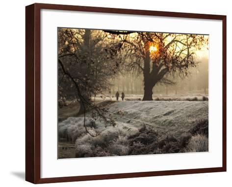A Couple Walk in the Winter in Richmond Park-Alex Saberi-Framed Art Print