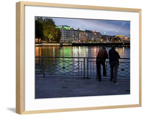 Two Men Lean on a Rail at Lake Geneva-Greg Dale-Framed Art Print