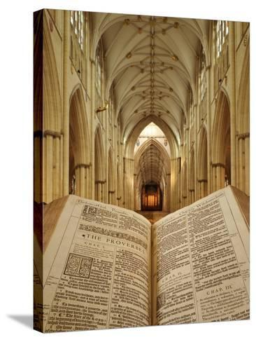 An Open King James Bible in the Gothic Cathedral of York Minster-Jim Richardson-Stretched Canvas Print
