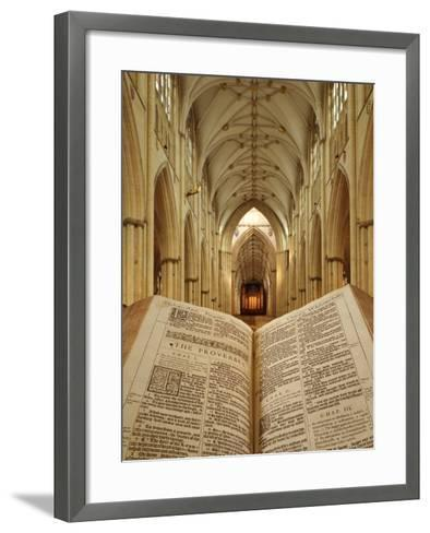 An Open King James Bible in the Gothic Cathedral of York Minster-Jim Richardson-Framed Art Print