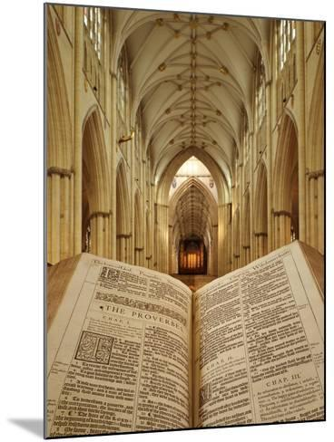 An Open King James Bible in the Gothic Cathedral of York Minster-Jim Richardson-Mounted Photographic Print