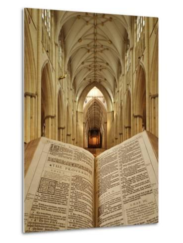 An Open King James Bible in the Gothic Cathedral of York Minster-Jim Richardson-Metal Print