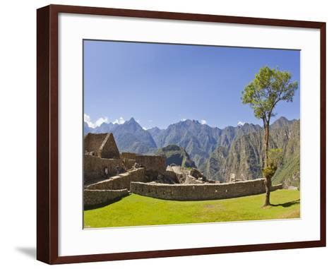 A Lone Tree and the Pre-Colmubian Inca Ruins at Machu Picchu-Mike Theiss-Framed Art Print