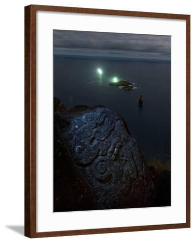A Petroglyph with a Birdman Motif-Randy Olson-Framed Art Print