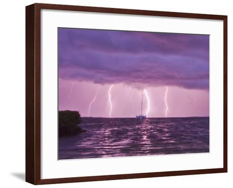 Lightning Bolts Striking the Ocean, and Almost Hitting a Sailboat-Mike Theiss-Framed Art Print