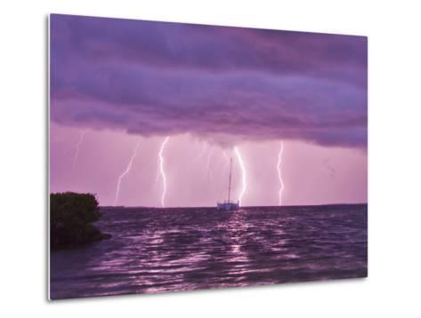Lightning Bolts Striking the Ocean, and Almost Hitting a Sailboat-Mike Theiss-Metal Print