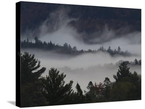 Morning Fog Blankets Adirondack Park-Michael Melford-Stretched Canvas Print