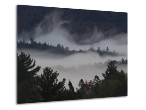 Morning Fog Blankets Adirondack Park-Michael Melford-Metal Print