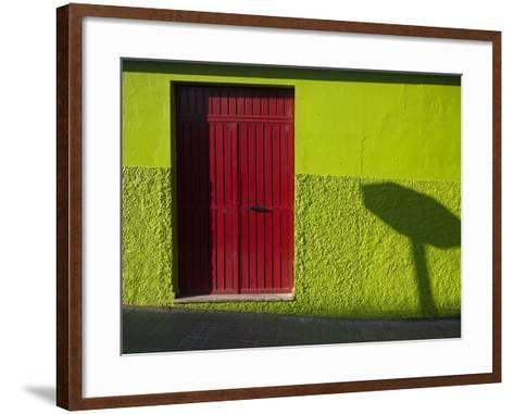 A Green Building with a Red Door in Merida-Tino Soriano-Framed Art Print