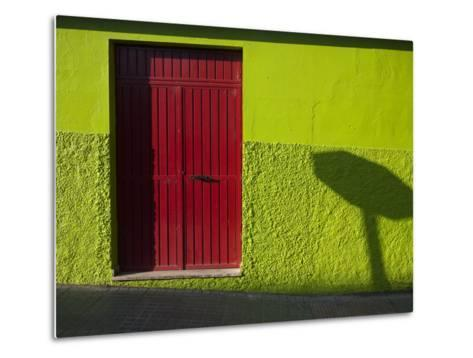 A Green Building with a Red Door in Merida-Tino Soriano-Metal Print