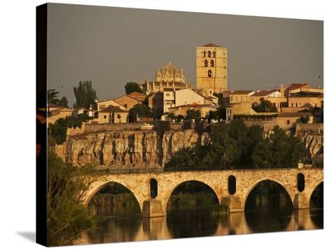 The Duero River and Roman Bridge in Zamora-Tino Soriano-Stretched Canvas Print