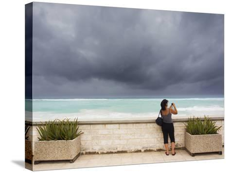 Tourists Come to the Beach to See Hurricane Igor's First Outer Bands-Mike Theiss-Stretched Canvas Print