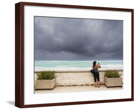 Tourists Come to the Beach to See Hurricane Igor's First Outer Bands-Mike Theiss-Framed Art Print