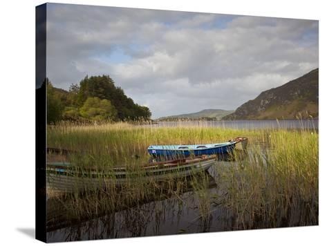 An Afternoon Landscape of a Lake with Rowboats in the Foreground-Kenneth Ginn-Stretched Canvas Print