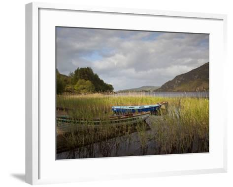 An Afternoon Landscape of a Lake with Rowboats in the Foreground-Kenneth Ginn-Framed Art Print