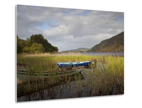 An Afternoon Landscape of a Lake with Rowboats in the Foreground-Kenneth Ginn-Metal Print