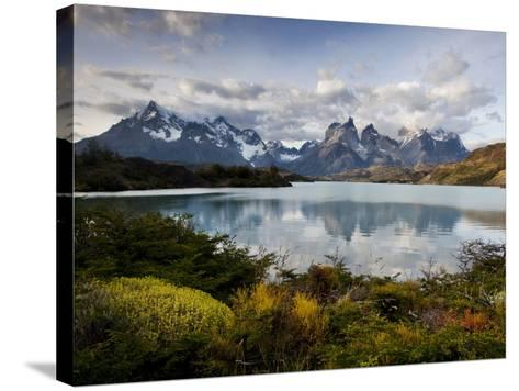 Los Cuernos Del Paine Seen across Lake Pehoe-Alex Saberi-Stretched Canvas Print