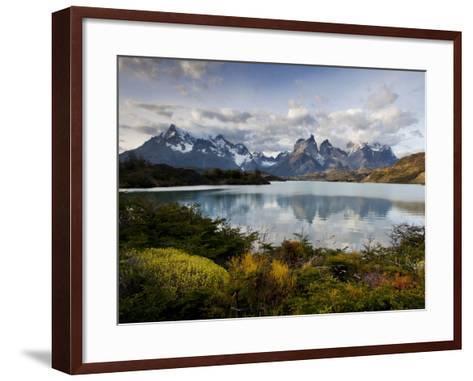 Los Cuernos Del Paine Seen across Lake Pehoe-Alex Saberi-Framed Art Print