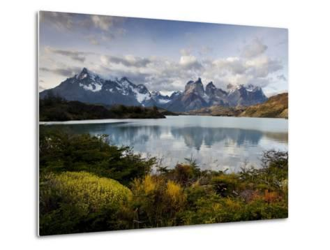 Los Cuernos Del Paine Seen across Lake Pehoe-Alex Saberi-Metal Print