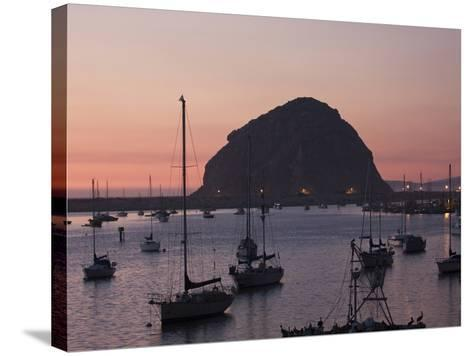 Boats Anchored at Sunset Near Morro Rock-Marc Moritsch-Stretched Canvas Print