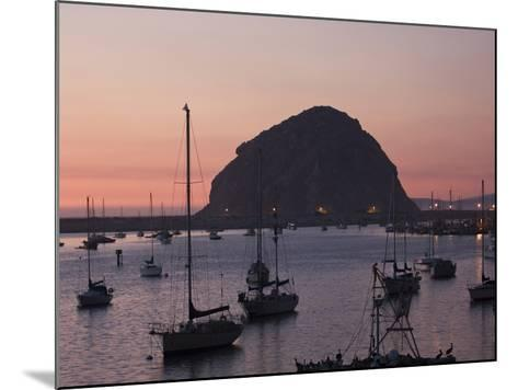 Boats Anchored at Sunset Near Morro Rock-Marc Moritsch-Mounted Photographic Print