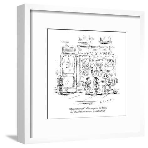 """My parents won't allow sugar in the house, so I've had to learn about it ?"" - New Yorker Cartoon-Barbara Smaller-Framed Art Print"