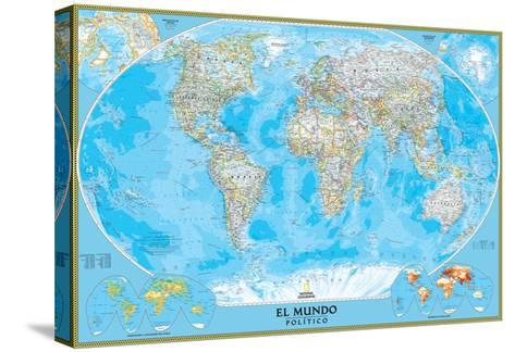 Spanish Classic World Map-National Geographic Maps-Stretched Canvas Print